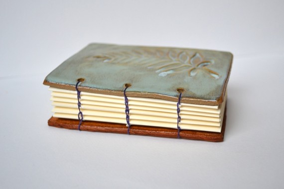 Leaf imprint ceramic artist journal - purple coptic binding